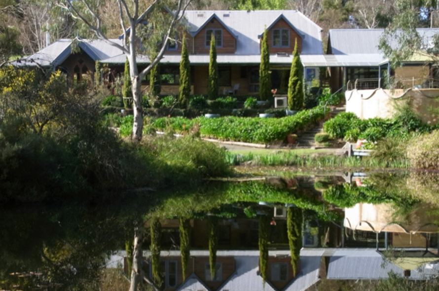 Reflection of Main Lodge in the Lake
